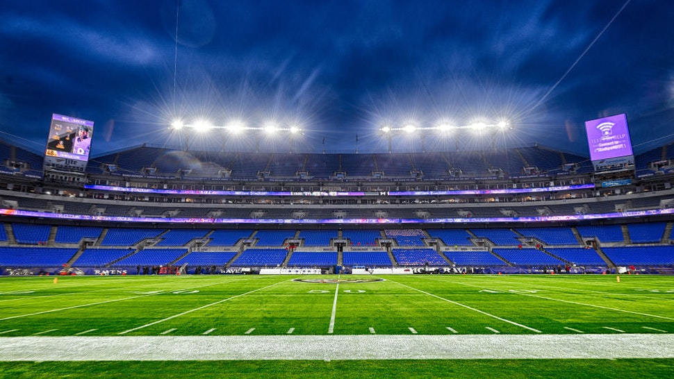 BALTIMORE, MD - JANUARY 11: A 21 frame composite high dynamic range (HDR) image taken on January 11, 2020, of M&T Bank Stadium in Baltimore, MD. prior to the AFC Divisional Playoff between the Tennessee Titans and the Baltimore Ravens.