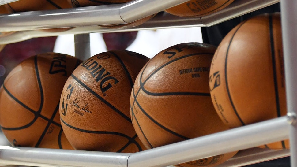 LAS VEGAS, NEVADA - JULY 06: Basketballs are shown in a ball rack before a game between the Washington Wizards and the New Orleans Pelicans during the 2019 NBA Summer League at the Thomas & Mack Center on July 6, 2019 in Las Vegas, Nevada. NOTE TO USER: User expressly acknowledges and agrees that, by downloading and or using this photograph, User is consenting to the terms and conditions of the Getty Images License Agreement.