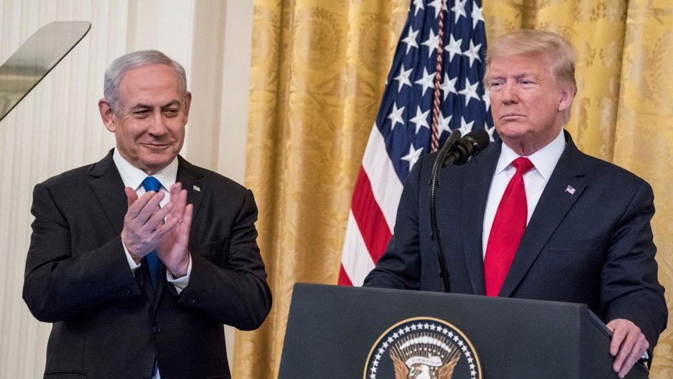 WASHINGTON, DC - JANUARY 28: U.S. President Donald Trump andIsraeli Prime Minister Benjamin Netanyahuparticipate in a joint statement in the East Room of the White House on January 28, 2020 in Washington, DC. The news conference was held to announce the Trump administration's plan to resolve the Israeli-Palestinian conflict. (Photo by Sarah Silbiger/Getty Images)