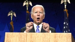 Former Vice President Joe Biden, Democratic presidential nominee, speaks during the Democratic National Convention at the Chase Center in Wilmington, Delaware, U.S., on Thursday, Aug. 20, 2020. Biden accepted the Democratic nomination to challenge President Donald Trump, urging Americans in a prime-time address to vote for new national leadership that will overcome deep U.S. political divisions.