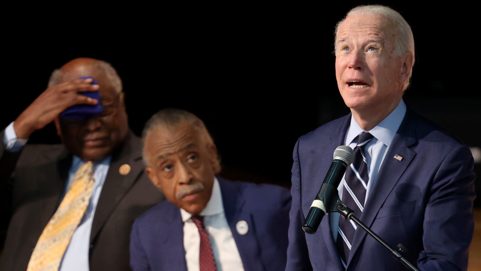 NORTH CHARLESTON, SOUTH CAROLINA - FEBRUARY 26: Democratic presidential candidate former Vice President Joe Biden speaks at the Ministers' Breakfast hosted by National Action Network and Rev. Al Sharpton (C) February 26, 2020 in North Charleston, South Carolina. South Carolina holds its first in the south Democratic presidential primary on February 29. Also pictured is Rep. James Clyburn (D-SC) (L).