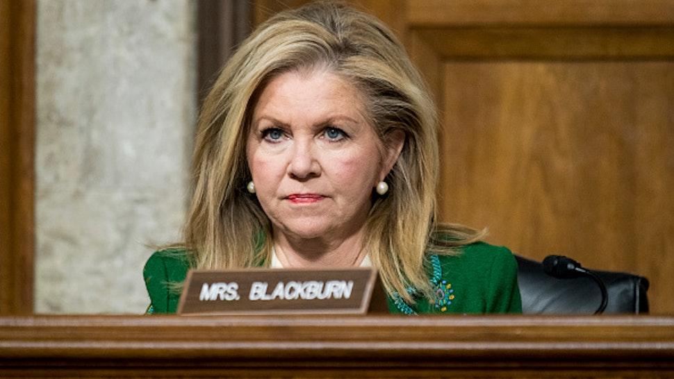 UNITED STATES - DECEMBER 3: Sen. Marsha Blackburn, R-Tenn., listens during the Senate Armed Services Committee hearing on privatized military housing on Tuesday, Dec. 3, 2019.