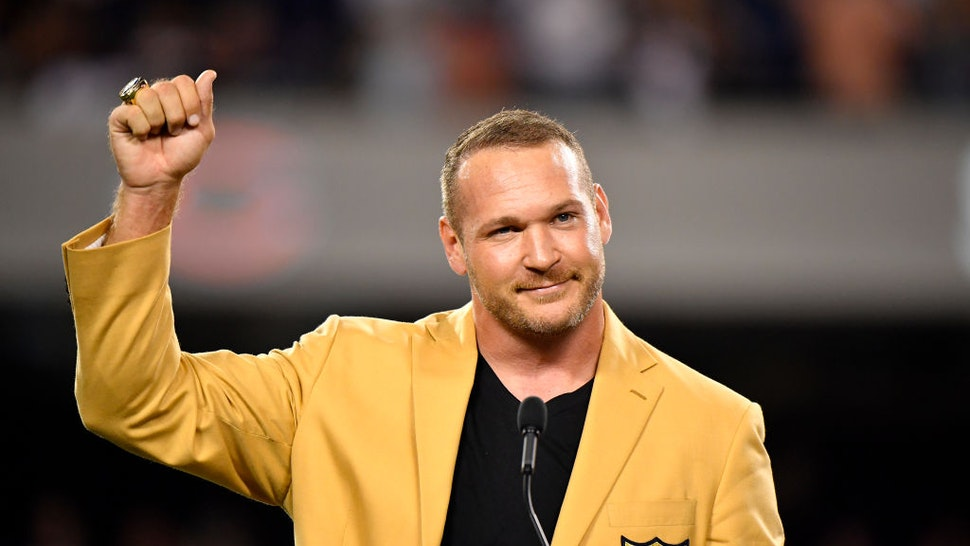 CHICAGO, IL - SEPTEMBER 17: Brian Urlacher is honored with a Ring of Excellence ceremony for his recent induction into the Hall of Fame at Soldier Field on September 17, 2018 in Chicago, Illinois. (Photo by Quinn Harris/Getty Images)