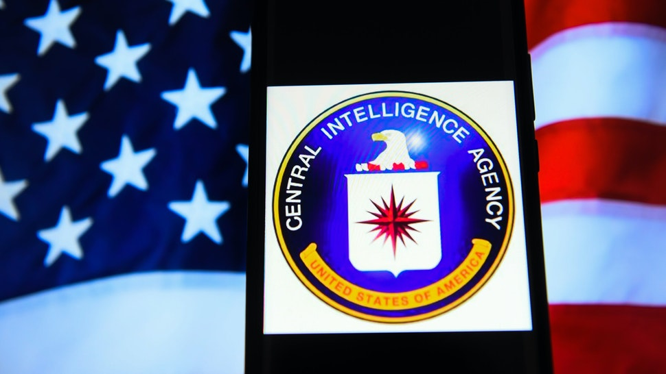 KRAKOW, POLAND - 2018/09/19: In this photo illustration, the Central Intelligence Agency (CIA) logo is seen displayed on an Android mobile phone.