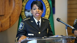 SEATTLE, WA - AUGUST 11: Seattle Police Chief Carmen Best announces her resignation at a press conference at Seattle City Hall on August 11, 2020 in Seattle, Washington. Her departure comes after months of protests against police brutality and votes by the City Council to defund her department by 14%.