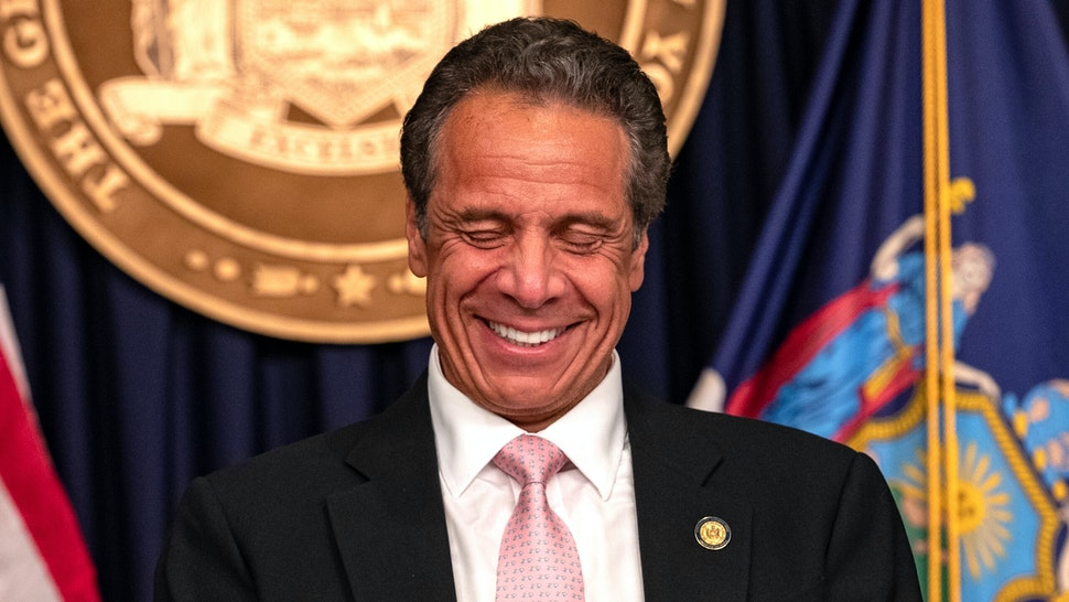 "Governor Andrew Cuomo reacts during the daily media briefing at the Office of the Governor of the State of New York on June 12, 2020 in New York City. Gov. Andrew Cuomo signed the ""Say Their Name"" reform legislation, an agenda that calls for better policing standards in New York State in the wake of recent protests and in response to George Floyd's death."