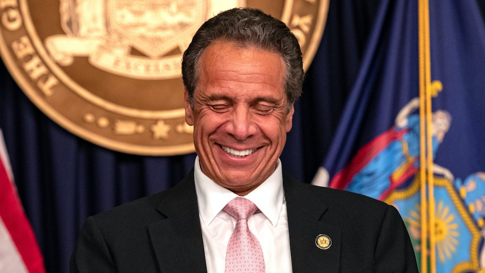 """Governor Andrew Cuomo reacts during the daily media briefing at the Office of the Governor of the State of New York on June 12, 2020 in New York City. Gov. Andrew Cuomo signed the """"Say Their Name"""" reform legislation, an agenda that calls for better policing standards in New York State in the wake of recent protests and in response to George Floyd's death."""