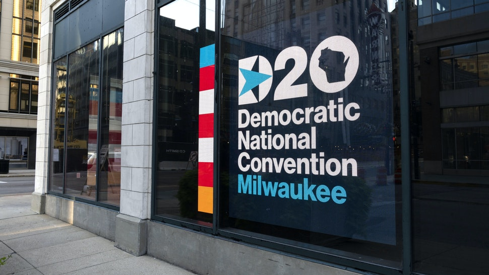 Signage for the Democratic National Convention is displayed near the Wisconsin Center in Milwaukee, Wisconsin, U.S., on Sunday, Aug. 16, 2020. A full slate of Democratic stars will take the virtual stage at the partys convention next week, from one-time presidential candidates, to beloved former officials to up-and-comers.