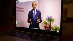 Former U.S. President Barack Obama speaks during the virtual Democratic National Convention seen on a laptop computer in Tiskilwa, Illinois, U.S., on Wednesday, Aug. 19, 2020. The DNC, which began Monday and ends Thursday with Joe Biden accepting the nomination for president, will be almost entirely virtual with speakers delivering addresses from around the U.S. that will be streamed on the internet.