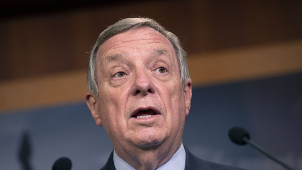 U.S. Senator Dick Durbin, a Democrat from Illinois, speaks during a news conference on Capitol Hill in Washington, D.C., U.S., on Tuesday, July 21, 2020. The White House and Congress have only a few weeks to come up with another stimulus to prevent the economic rout caused by the coronavirus from deepening as the outbreak is surging across the country.