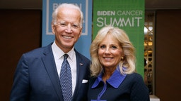 Former U.S. Vice President Joe Biden and his wife, Dr. Jill Biden, host the Biden Cancer Summit Welcome Reception at Intercontinental Hotel on September 20, 2018 in Washington, DC.
