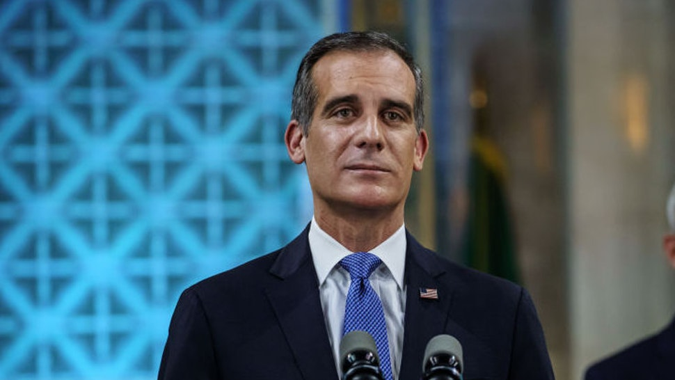 LOS ANGELES, CALIF. -- SUNDAY, APRIL 19, 2020: Los Angeles Mayor Eric Garcetti tears up as he gives his annual 'State of the City' speech at City Hall in Los Angeles, Calif., on April 19, 2020.