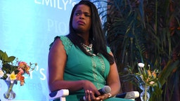 LOS ANGELES, CALIFORNIA - FEBRUARY 19: Kim Foxx speaks onstage during Raising Our Voices: Supporting More Women in Hollywood & Politics at Four Seasons Hotel Los Angeles in Beverly Hills on February 19, 2019 in Los Angeles, California. (Photo by Presley Ann/Getty Images for EMILY'S List)