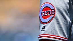 LOS ANGELES, CA - APRIL 17: The Cincinnati Reds logo on a jersey during a MLB game between the Cincinnati Reds and the Los Angeles Dodgers on April 17, 2019 at Dodger Stadium in Los Angeles, CA. (Photo by Brian Rothmuller/Icon Sportswire via Getty Images)