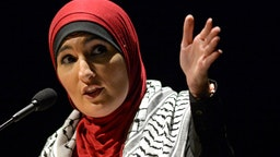 Political activist Linda Sarsour speaks during a panel on free speech and the Israeli-Palestinian conflict at the University of Massachusetts campus in Amherst, Massachusetts on May 4, 2019.