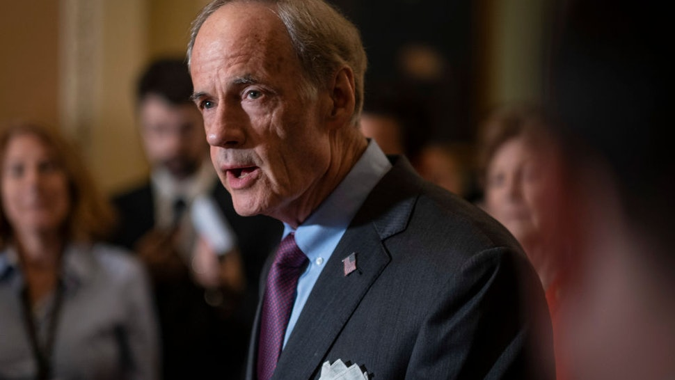 Senator Tom Carper (D-DE), speaks to the media during a press conference following the Senate Republican Leadership lunches on July 16, 2019 in Washington, DC.