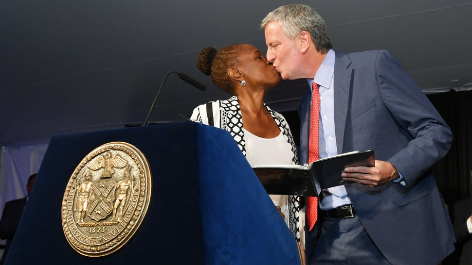 """Chirlane McCray and NYC mayor Bill de Blasio appear onstage as Harlem, New York City And New York State honor Memphis' 200th Anniversary celebrating """"A New Century Of Soul"""" between two iconic communities at Gracie Mansion on July 18, 2019 in New York City."""
