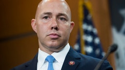 Rep. Brian Mast, R-Fla., conducts a news conference in the Capitol Visitor Center on the eviction of Congressional offices from Veterans Affairs Department facilities on Friday, September 20, 2019.
