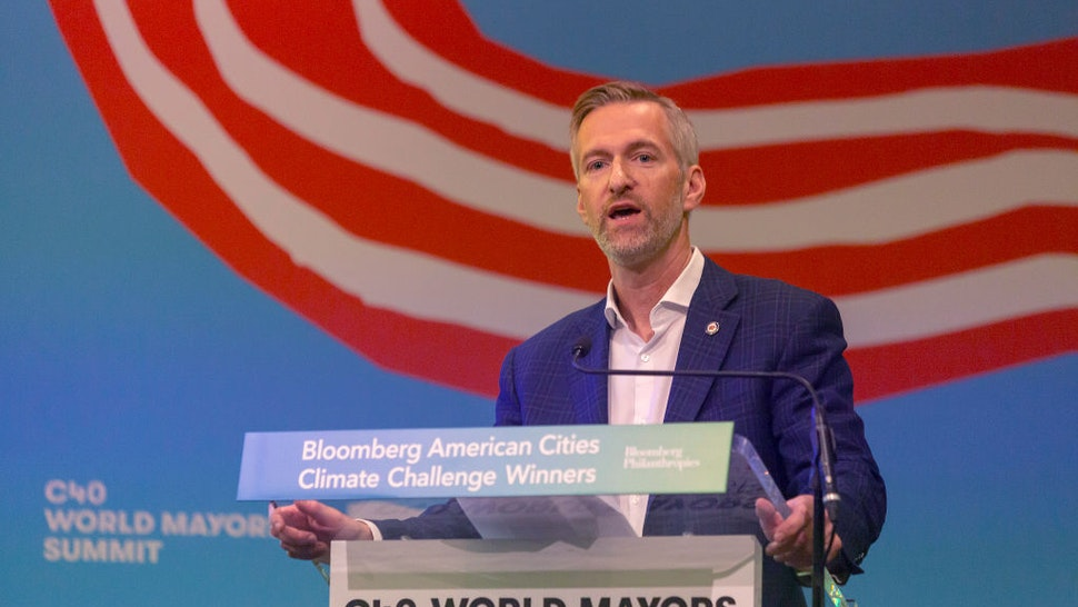 Ted Wheeler, Mayor of Portland, speaks during the American Cities Climate Challenge conference at the C40 World Mayors Summit on October 10, 2019 in Copenhagen, Denmark.