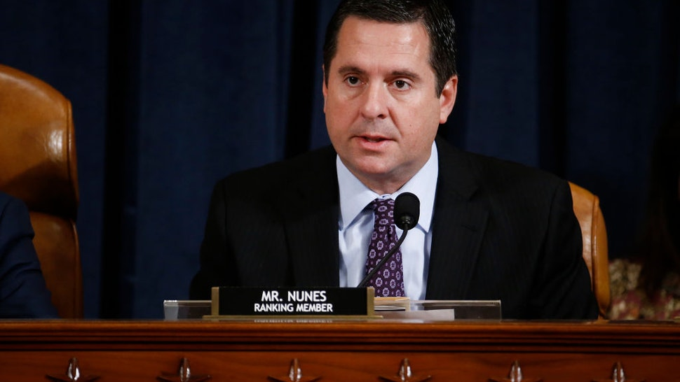 Representative Devin Nunes, a Republican from California and ranking member of the House Intelligence Committee, speaks during an impeachment inquiry hearingon Capitol Hill November 21, 2019 in Washington, DC.