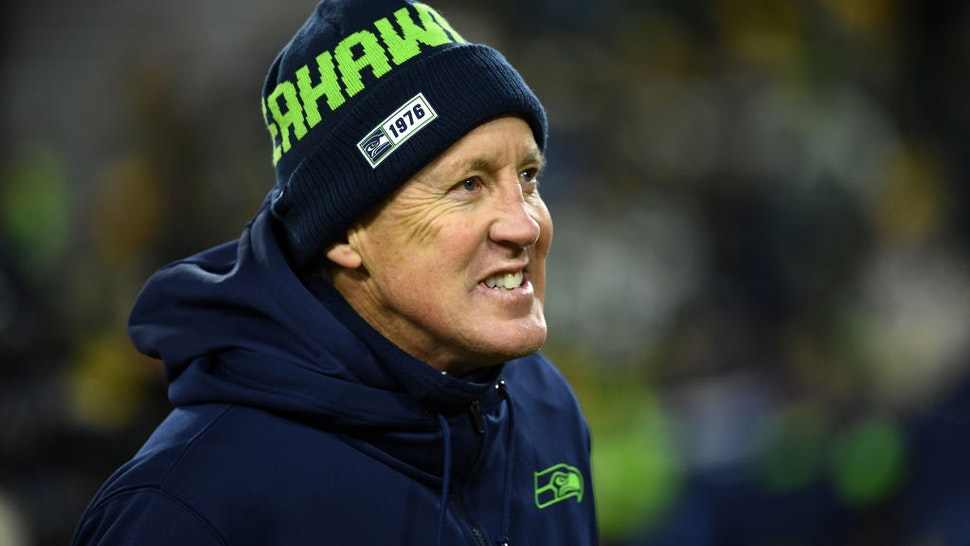 Head coach Pete Carroll of the Seattle Seahawks watches action prior the NFC Divisional Playoff game against the Green Bay Packers at Lambeau Field on January 12, 2020 in Green Bay, Wisconsin.