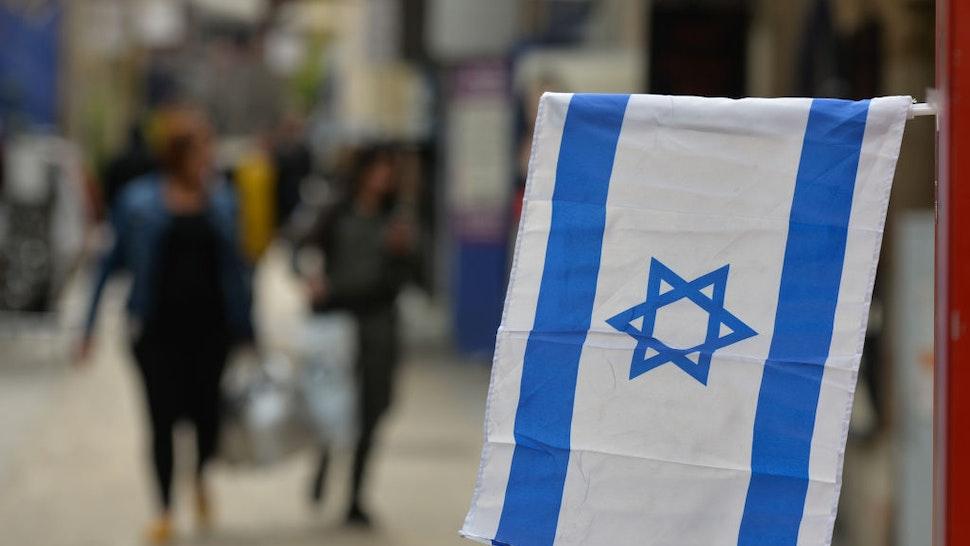 An Israeli flag seen in Jerusalem Center. On Monday, February 24, 2020, in Jerusalem, Israel.