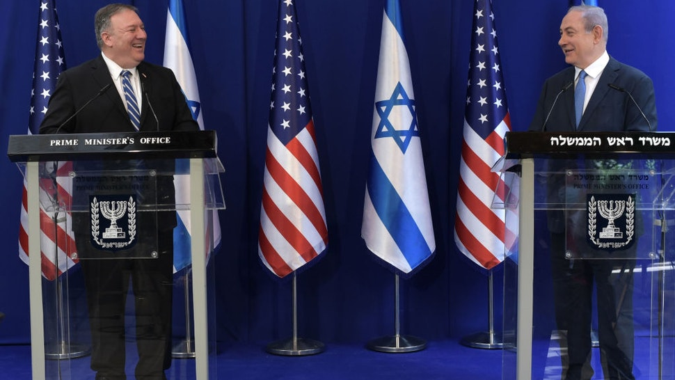 Israeli Prime Minister Benjamin Netanyahu (R) meets with US Secretary of State Mike Pompeo on May 13, 2020 in Jerusalem, Israel.