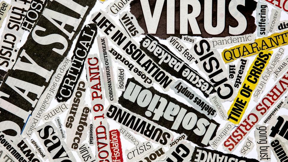 Coronavirus newspaper headline montage - stock photo