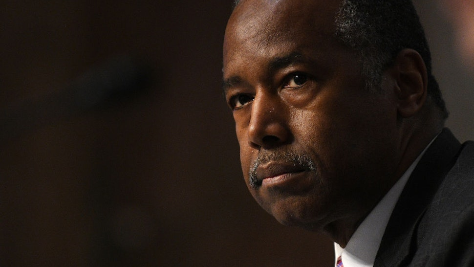 Ben Carson, U.S. Secretary of the U.S. Department of Housing and Urban Development, listens to questions during testimony before the U.S. Senate Committee on Banking, Housing, and Urban Affairs to examine housing regulations during the pandemic on Capitol Hill in Washington, DC.