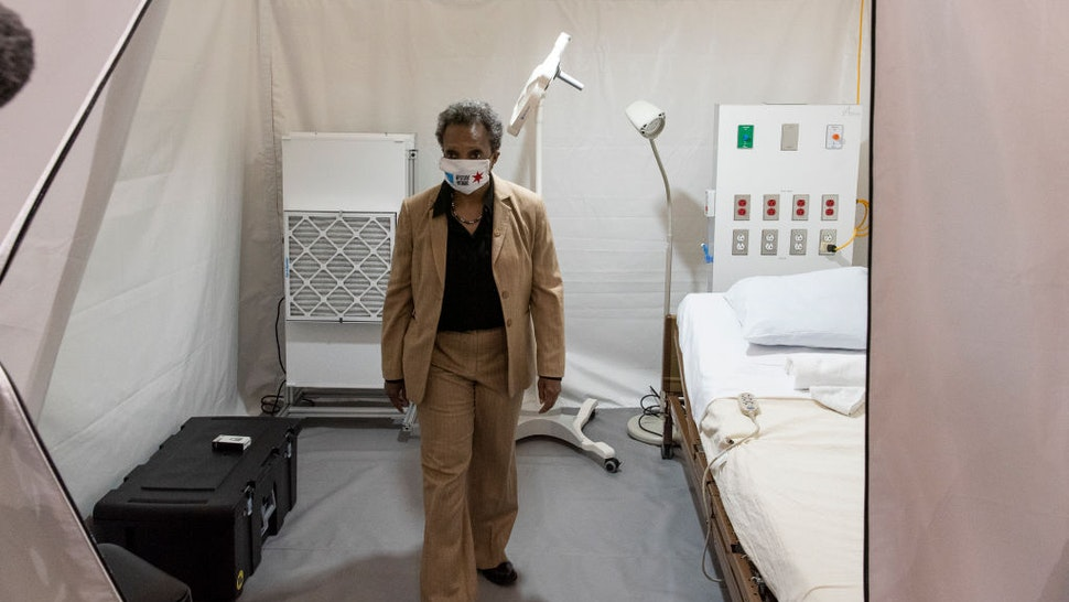 Chicago Mayor Lori Lightfoot tours the COVID-19 alternate care facility constructed at the McCormick Place convention center in Chicago, Illinois on April 17, 2020 in Chicago, Illinois.