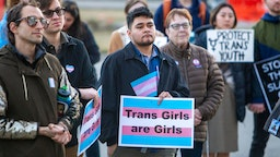 More than 100 people rallied at the Capitol in Boise, Idaho, in support of transgender students and athletes, March 4, 2020.