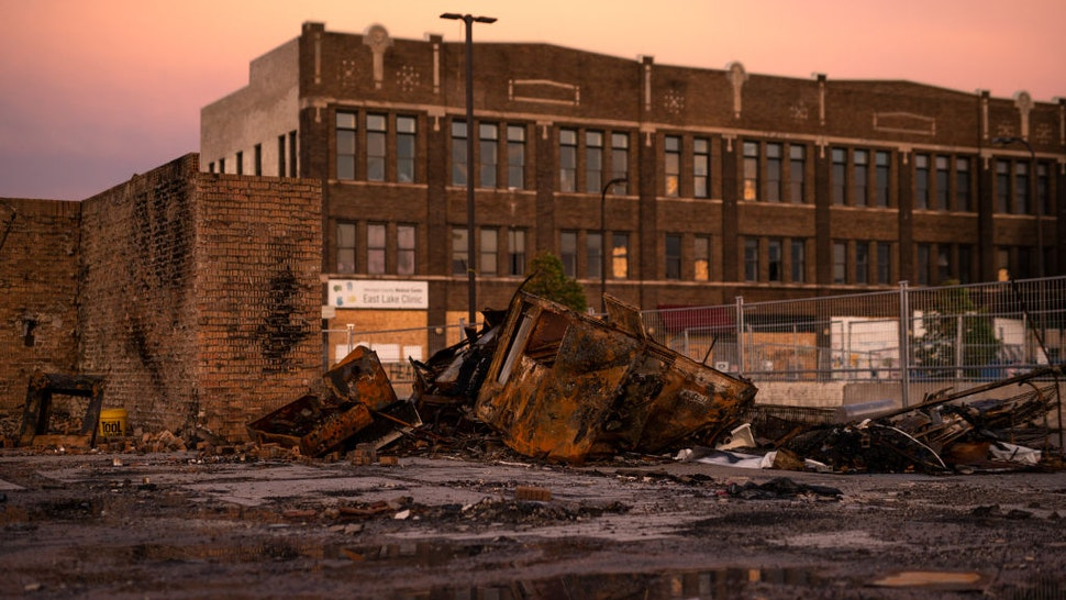 A view of a destroyed Wendy's restaurant near the Third Police Precinct Station on June 21, 2020 in Minneapolis, Minnesota.
