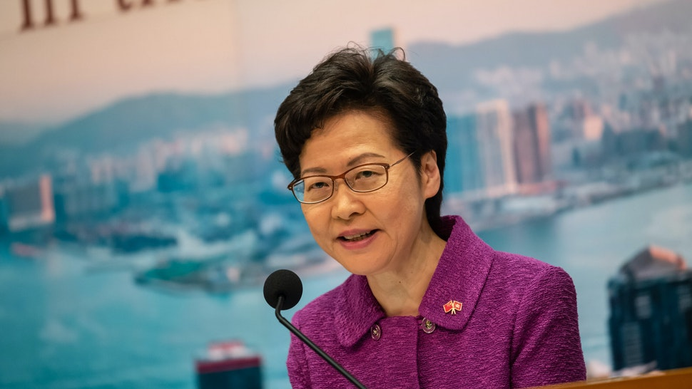 HONG KONG, CHINA - JULY 01: Hong Kong's Chief Executive Carrie Lam takes part in a press conference at the government headquarters, on the 23rd anniversary of the city's handover from Britain to China, on July 1, 2020 in Hong Kong, China. (Photo by Billy H.C. Kwok/Getty Images)