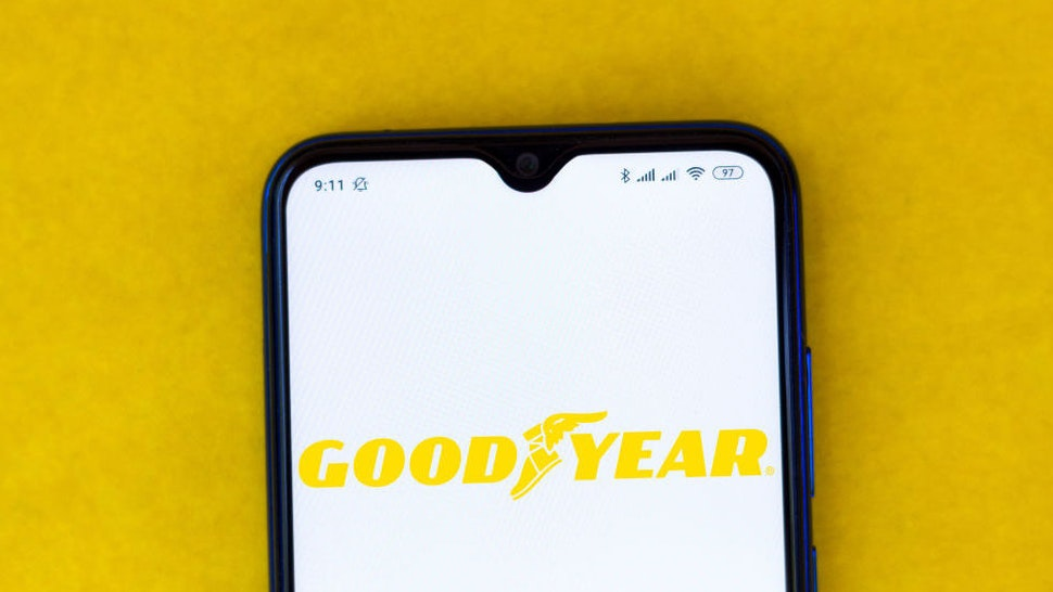 In this photo illustration the Goodyear logo seen displayed on a smartphone.
