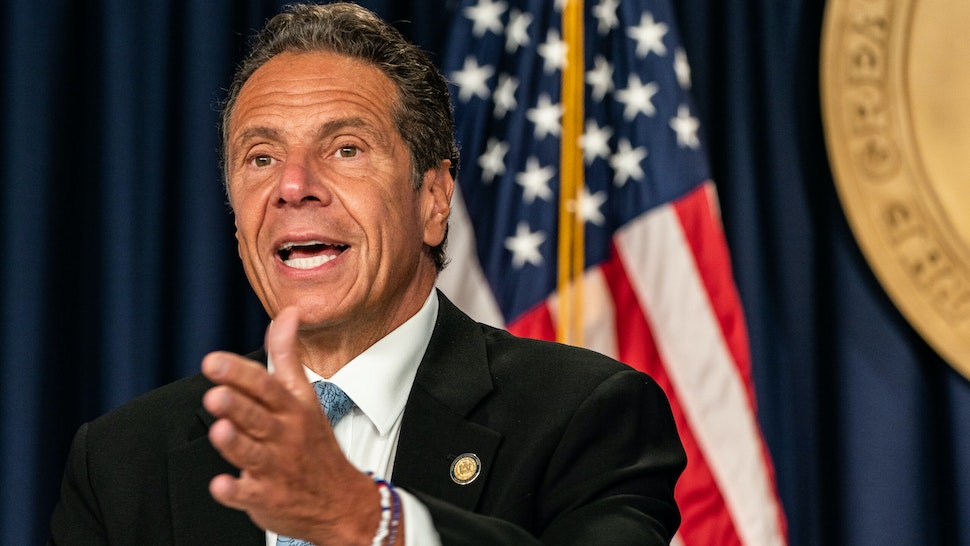 NEW YORK, NY - JULY 23: New York Gov. Andrew Cuomo speaks during the daily media briefing at the Office of the Governor of the State of New York on July 23, 2020 in New York City. The Governor said the state liquor authority has suspended 27 bar and restaurant alcohol licenses for violations of social distancing rules as public officials try to keep the coronavirus outbreak under control. (Photo by Jeenah Moon/Getty Images)NEW YORK, NY - JULY 23: New York Gov. Andrew Cuomo speaks during the daily media briefing at the Office of the Governor of the State of New York on July 23, 2020 in New York City. The Governor said the state liquor authority has suspended 27 bar and restaurant alcohol licenses for violations of social distancing rules as public officials try to keep the coronavirus outbreak under control. (Photo by Jeenah Moon/Getty Images)