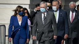 WASHINGTON, DC - JULY 29: (L-R) Speaker of the House Nancy Pelosi (D-CA), Senate Majority Leader Mitch McConnell (R-KY), Senate Minority Leader Chuck Schumer (D-NY) and Rep. Steny Hoyer (D-MD) walk outside before the casket of the late civil rights icon Rep. John Lewis (D-GA) departs the United States Capitol on July 29, 2020 in Washington, DC. After lying in state at the Capitol, the body of Lewis will go to Atlanta, Georgia where he will lie in repose at the State Capitol ahead of Thursday's funeral service. (Photo by Drew Angerer/Getty Images)