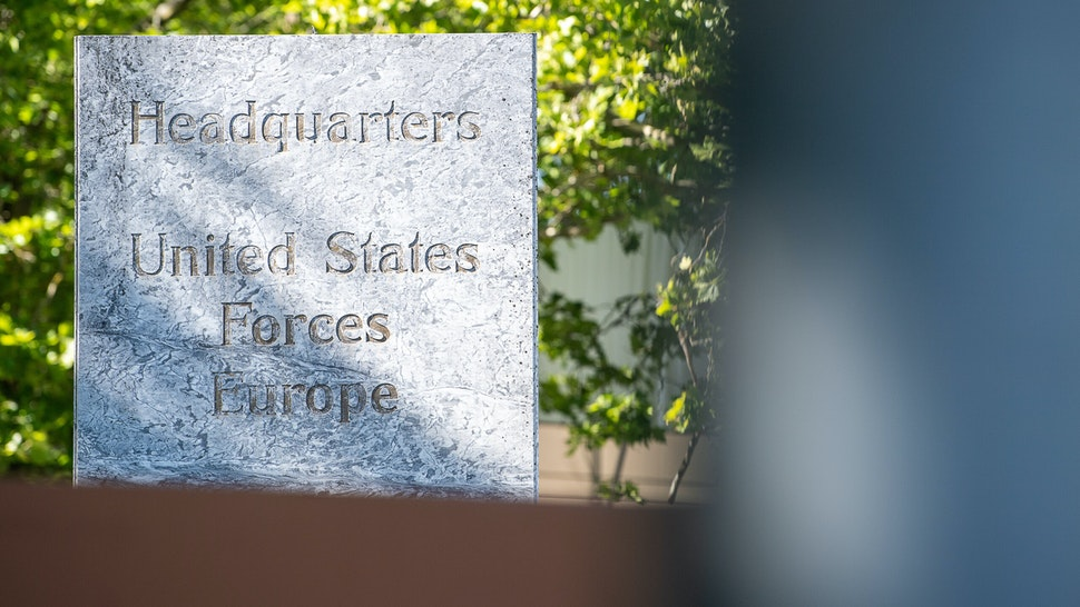 """29 July 2020, Baden-Wuerttemberg, Stuttgart: A sign with the inscription """"Headquarters United States Forces Europe"""" is located at the entrance of the US Barracks Patch Barracks. (to dpa """"USA moves European command from Stuttgart to Belgium"""") Photo: Sebastian Gollnow/dpa (Photo by Sebastian Gollnow/picture alliance via Getty Images)"""