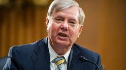 Sen. Lindsey Graham (R-SC) questions U.S. Secretary of State Mike Pompeo during a Senate Foreign Relations committee hearing on the State Department's 2021 budget in the Dirksen Senate Office Building on July 30, 2020 in Washington, DC.