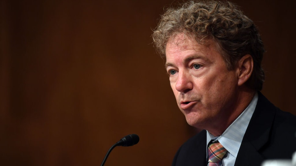 """WASHINGTON, DC - AUGUST 06: Senator Rand Paul (R-KY) questions Chad Wolf, acting Secretary of Homeland Security, who appears before the Senate Homeland Security and Governmental Affairs Committee on August 6, 2020 in Washington D.C. The committee held a hearing on """"Oversight of DHS Personnel Deployments to Recent Protests."""" (Photo by Toni Sandys-Pool/Getty Images)"""