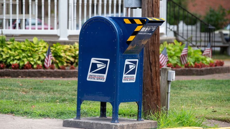 A drive-up United States Postal Service (USPS) mailbox is in King Street Park in Northumberland, Pennsylvania.