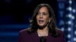 Senator Kamala Harris, Democratic vice presidential nominee, speaks during the Democratic National Convention at the Chase Center in Wilmington, Delaware, U.S., on Wednesday, Aug. 19, 2020.
