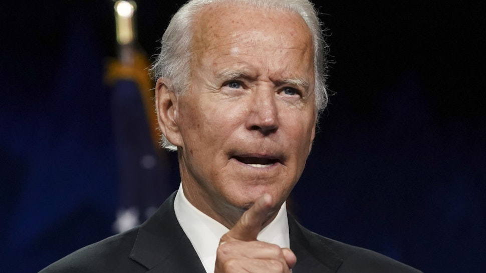 Former Vice President Joe Biden, Democratic presidential nominee, speaks during the Democratic National Convention at the Chase Center in Wilmington, Delaware, U.S., on Thursday, Aug. 20, 2020. Biden accepted the Democratic nomination to challenge President Donald Trump, urging Americans in a prime-time address to vote for new national leadership that will overcome deep U.S. political divisions. Photographer: Stefani Reynolds/Bloomberg via Getty Images