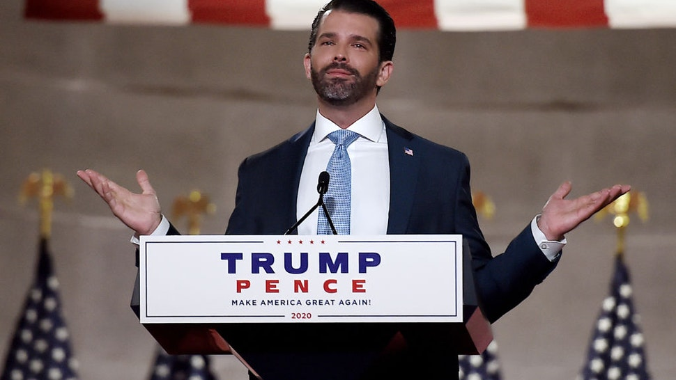 Donald Trump Jr. speaks during the first day of the Republican convention at the Mellon auditorium on August 24, 2020 in Washington, DC.