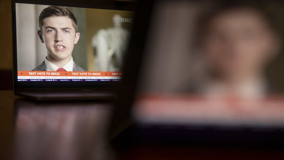 Nicholas Sandmann speaks during the Republican National Convention seen on a laptop computer in Tiskilwa, Illinois, U.S., on Tuesday, Aug. 25, 2020.