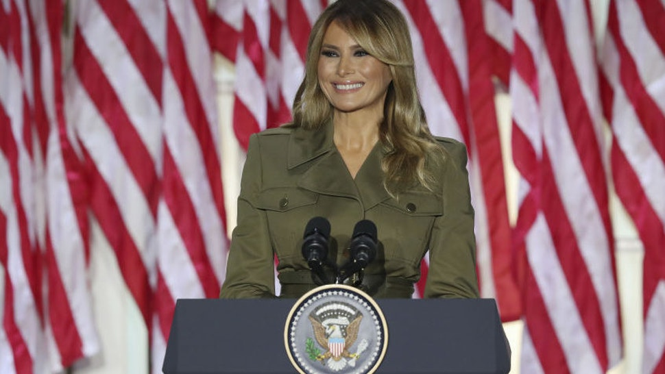U.S. First Lady Melania Trump speaks during the Republican National Convention in the Rose Garden of the White House in Washington, D.C., U.S., on Tuesday, Aug. 25, 2020.