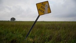 SABINE PASS, TX - AUGUST 26: A general view of a street sign in a field ahead of Hurricane Laura on August 26, 2020 in Sabine Pass, Texas. Hurricane Laura, currently a Category 4 storm, is expected to make landfall along the Gulf Coast late Wednesday and early Thursday. (Photo by Eric Thayer/Getty Images)