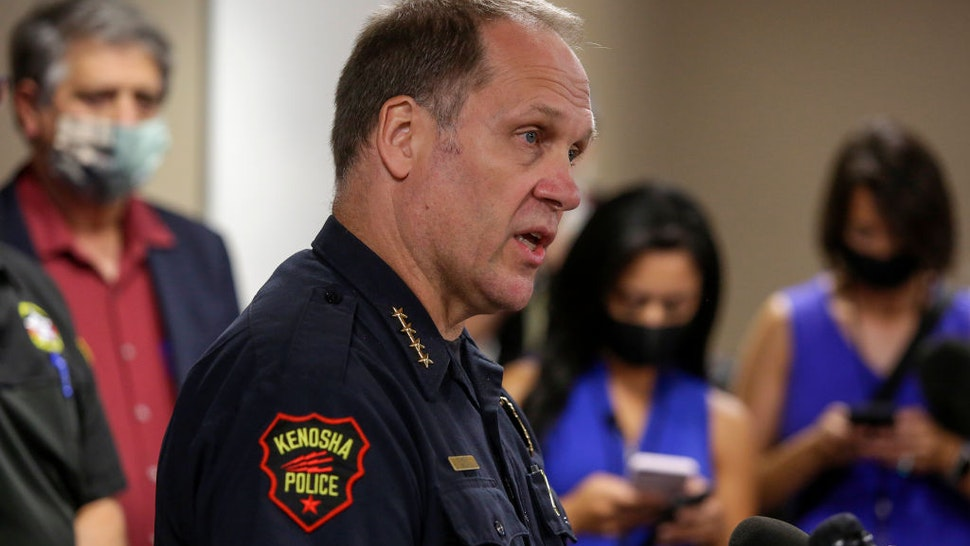 ENOSHA, WI - AUGUST 26: Kenosha Police Chief Daniel Miskinis speaks during a news conference at the Kenosha County Public Safety Building on Wednesday, August 26, 2020 in Kenosha, Wisconsin. Miskinis spoke about the recent looting, the fatal protest shooting and Jacob Blake, who was shot in the back multiple times by police officers who were responding to a domestic dispute call Sunday. Photo by Joshua Lott for The Washington Post via Getty Images