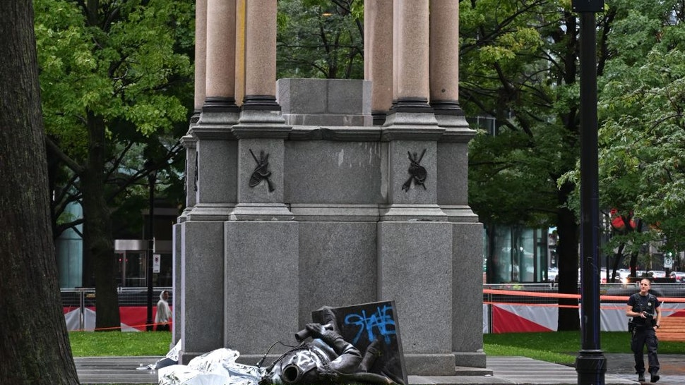 Protesters Topple Statue Of Canada's First Prime Minister In Montreal