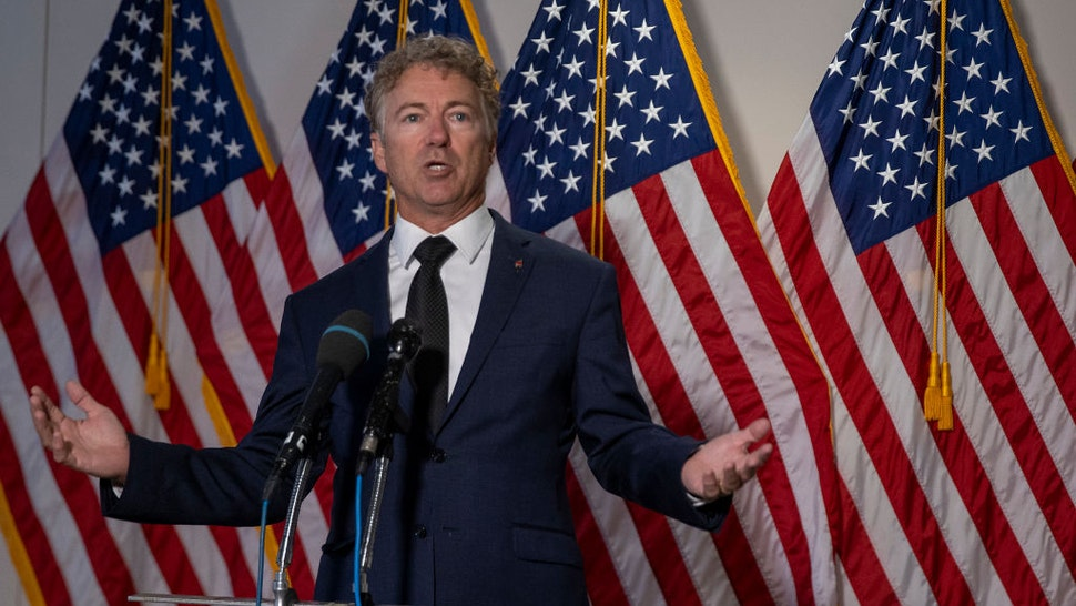 Sen. Rand Paul (R-KY) speaks to the media after the weekly policy luncheons on Capitol Hill July 21, 2020 in Washington, DC.