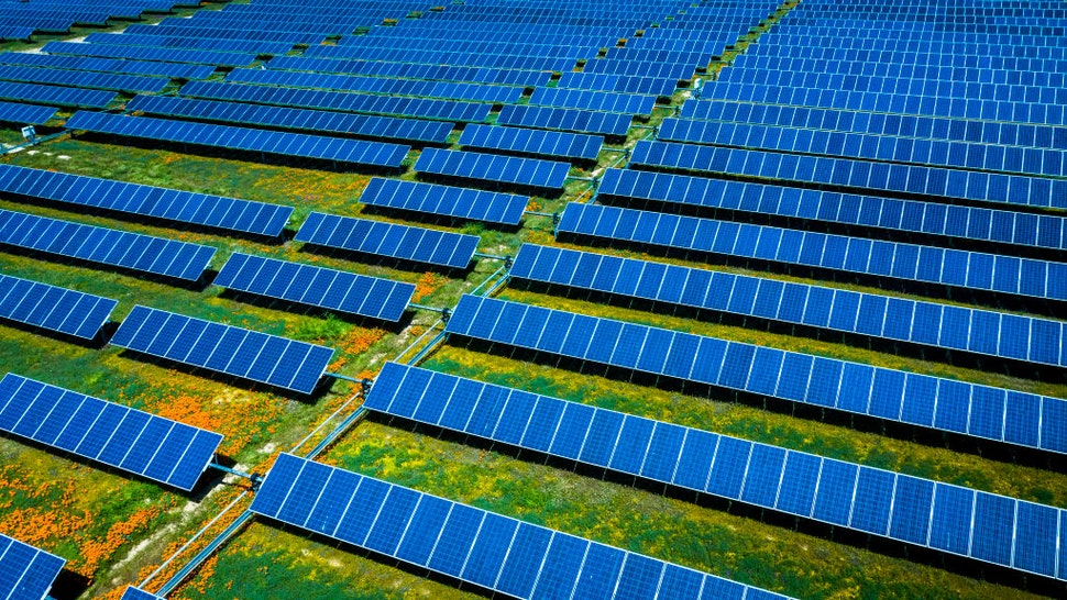 Aerial view of solar power plant with California Poppies growing between panels, outside of Lancaster area of Southern California.